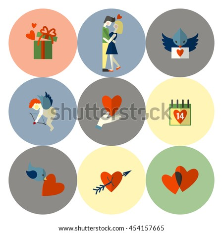 Simple Flat Icons Collection for Valentines Day, Wedding, Love and Romantic Events.