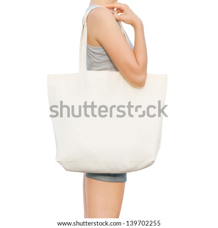 Simple flax eco bag - stock photo
