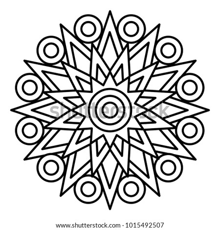 Simple Floral Mandala Print Easy Coloring Stock Illustration ...