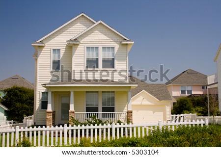 Upscale Home Brick Vinyl Shake Siding Stock Photo 18565729