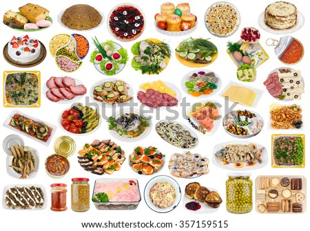 Simple food on plates in rustic rural style for Xmas and Easter holiday table. Isolated set. All full size images you can find  in my portfolio - stock photo