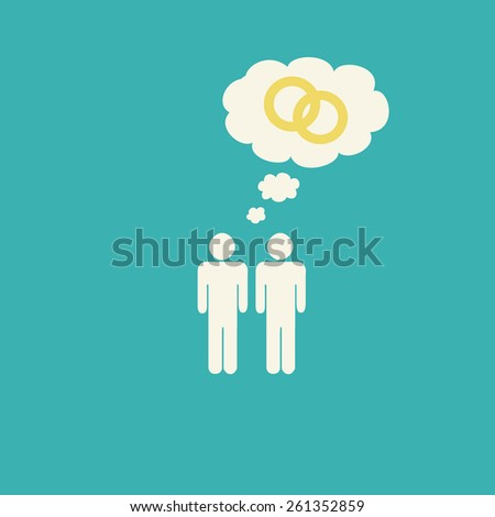 Simple gay marriage graphic with two male stick figures holding hands and two wedding rings inside a thought bubble. - stock photo