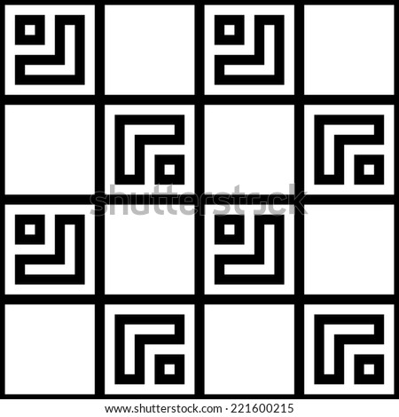 Simple Geometric Square Based Black White Seamless Pattern - stock photo