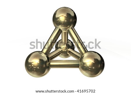 simple golden/copper/bronze molecular structure rendered in 3D - no shadow