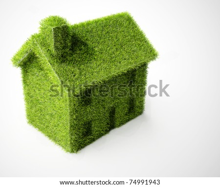 Simple green Eco house isolated on white.