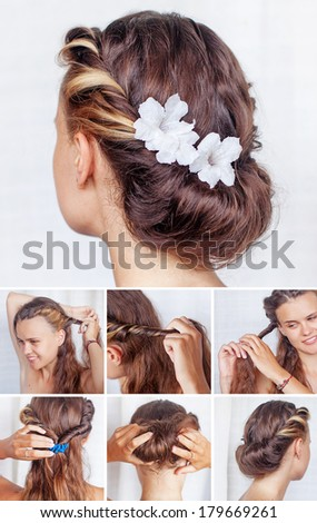 Simple hairdo tutorial - stock photo