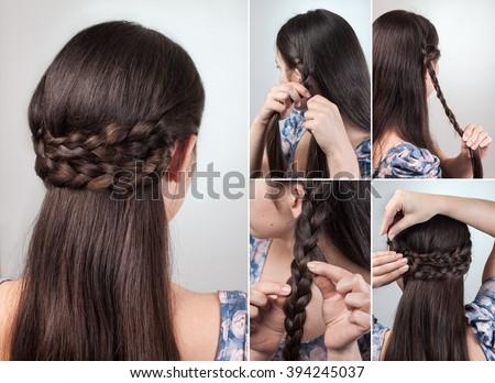 Simple Hairstyle Long Medium Hair Tutorial Stock Photo (Edit Now ...