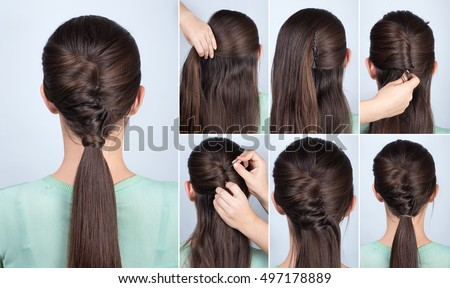 Hairstyle stock images royalty free images vectors shutterstock simple hairstyle ponytail with twist hair tutorial step by step hairstyle for long hair urmus Choice Image