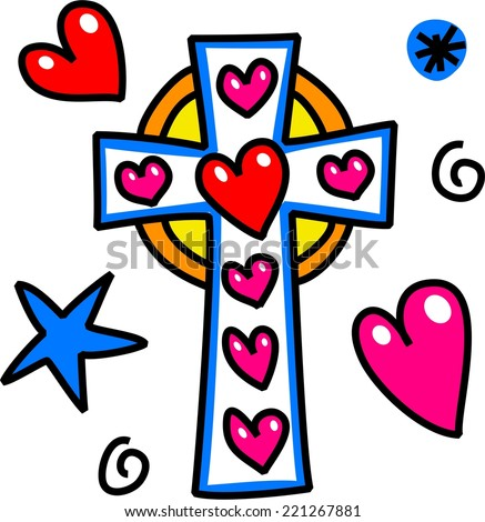 Simple hand drawn cartoon doodle sketch of a Christian cross symbol with love heart shapes. - stock photo