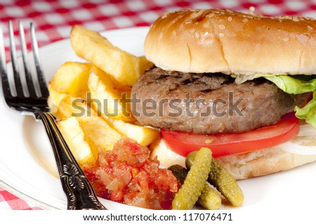 Simple home made basic hamburger with tomato slices, lettuce and onion in a white bread bun with chips and pickles.