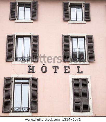 Simple Hotel facade in Annecy, France - stock photo