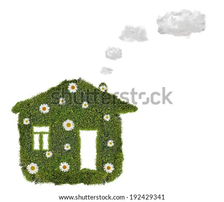 simple house from green moss isolated on white background - stock photo