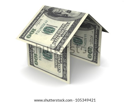 simple house icon made of folding US one hundred dollar bills