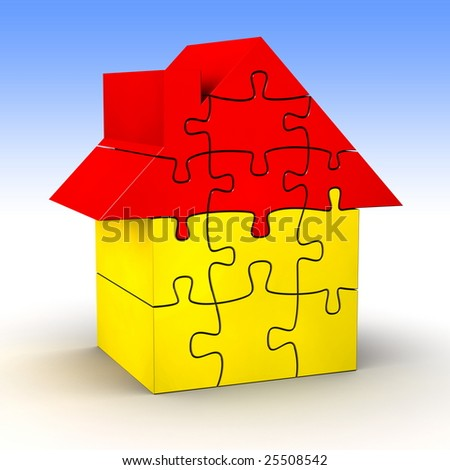 Simple house made of jigsaw puzzle [high res. 3d render] - stock photo