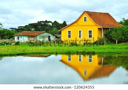 simple house wood - stock photo