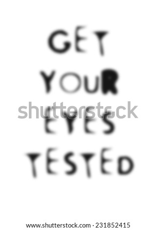 simple humorous blurred illustration about eyesight testing