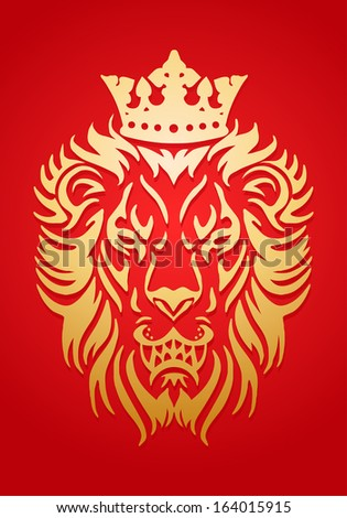 Simple icon illustration of a golden lion king wear crown in red background - stock photo