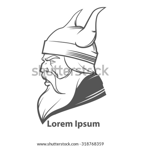 simple illustration for logo, viking head, profile view, angry, sport team - stock photo