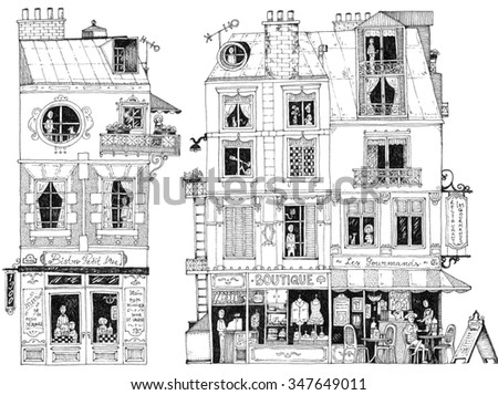 simple illustration french city houses shops apartments bistro restaurant small shop boutique - stock photo