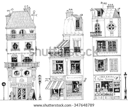 simple illustration french city houses shops apartments cheese maker - stock photo