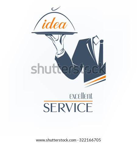 Simple illustration logo, isolated. Waiter holds a tray over white background. Excellent service idea sign. Classic banner or label for any business.  - stock photo