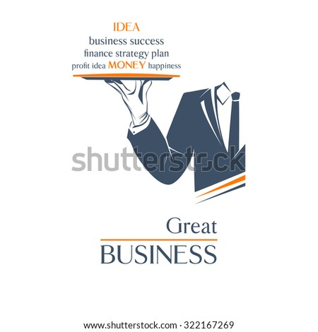 Simple illustration logo, isolated. Waiter holds a tray over white background. Great business idea sign. Classic banner or label for any business.  - stock photo