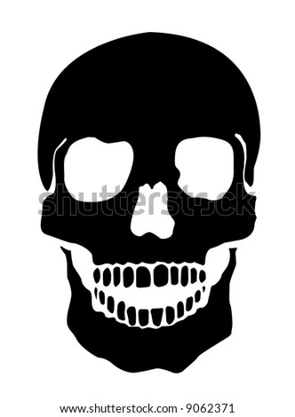 Simple Illustration Of A Human Skull, White Background - stock photo