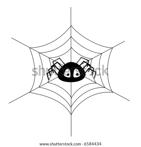 Simple illustration of a toon spider in a web - stock photo