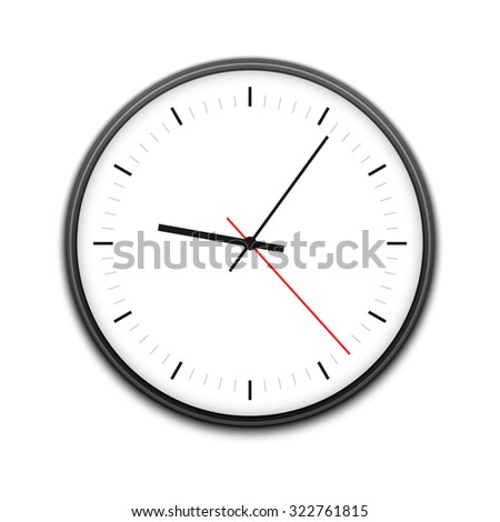 Simple illustration of clock with hour, minute and second arrows, isolated on white background. Can be used as icon. - stock photo