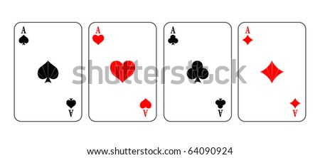Simple illustration of game cards over white background - stock photo