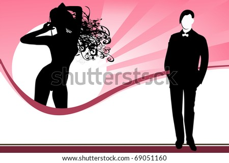 Simple illustration young adult girl and man - fashionable concept. - stock photo