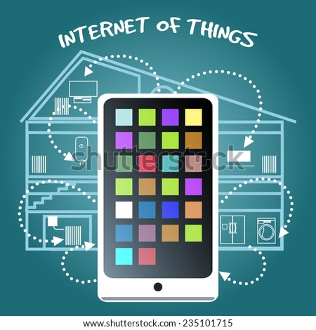 Simple Internet of Things Concept Graphic Design with Smart Phone Connecting Various Home Devices on Blue Green Background. - stock photo