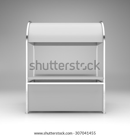simple kiosk or stand from front - stock photo