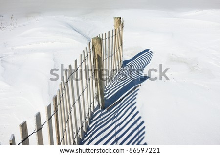 Simple landscape of sand fence and shadows on snowy white dunes at the beach. Sand fences play a vital part in conserving and growing sand dunes. Tiny bird tracks are evident to the left of the fence.
