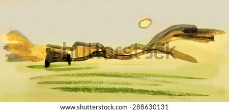 Simple landscape painted in ink in Asian style - stock photo