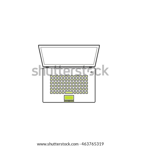 Simple Laptop. Flat icon on white background. Simple illustration