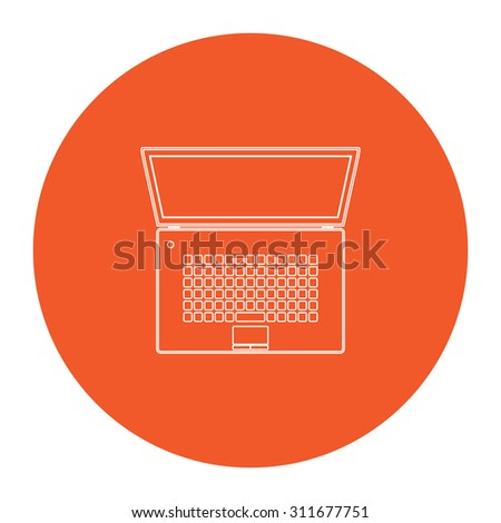 Simple Laptop. Flat white symbol in the orange circle. Outline illustration icon