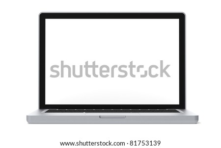 Simple LapTop. Simplified LapTop with blank Screen for Copy Space