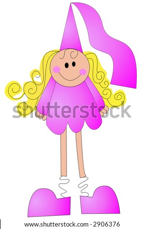 Simple line illustration of a happy pink princess - stock photo