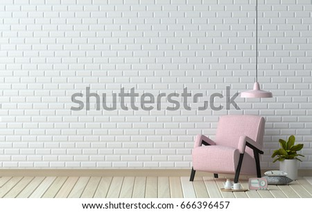 Simple Living Roompink Armchair In Front Of White Wall Interior Design 3D Illustration Scandinavian