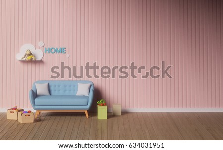 Simple Living RoomPink WallReading Room 3D Illustration