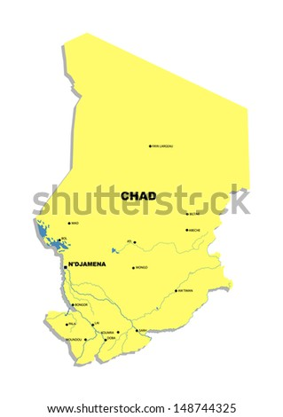 Simple map of Chad - stock photo