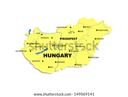 Simple map of Hungary