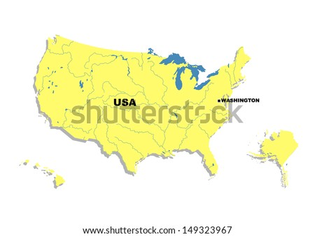 Simple Map United States America Stock Illustration - The map of united states of america