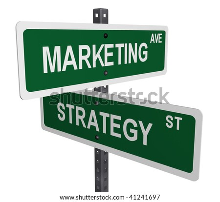 Simple marketing and strategy sign isolated on a white background - stock photo