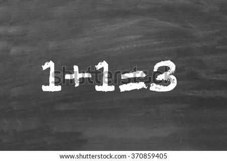 simple math on chalkboard - stock photo