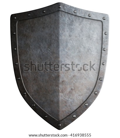 simple medieval shield 3d illustration isolated - stock photo