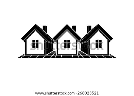Simple monochrome cottages illustration, black and white country houses, for use in graphic design. Real estate concept, region or district theme. Property developer abstract corporate image. - stock photo