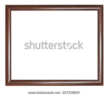simple narrow dark brown wooden picture frame with cut out canvas isolated on white background