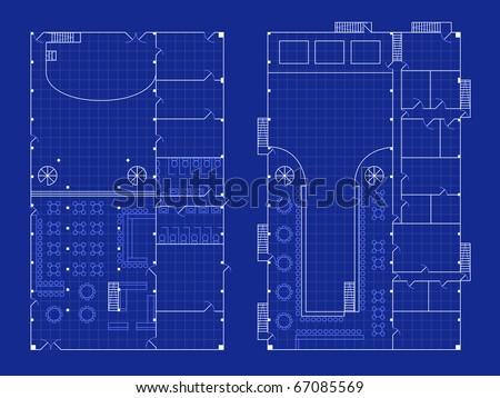 Simple nightclub blueprint - raster - stock photo